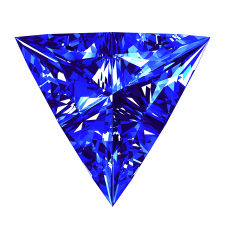 Sapphire Triangle Cut Over White Background. 3D Illustration. Stock Photo