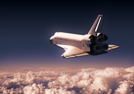Space Shuttle Over Red Clouds. 3D Illustration.