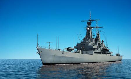 Warship Modern American In The Ocean. Illustration 3D.