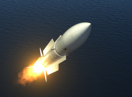 ballistic: Missile Launch On The High Seas. 3D Illustration. Stock Photo