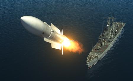 Raketenstart Von A Warship auf hoher See. Abbildung 3D.