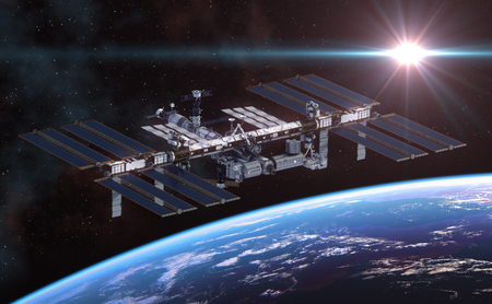 space station: International Space Station Orbiting Earth. 3D Illustration.