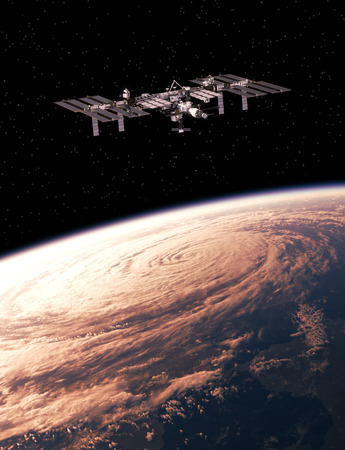 space station: International Space Station Exploring A Hurricane On The Earth. 3D Illustration.