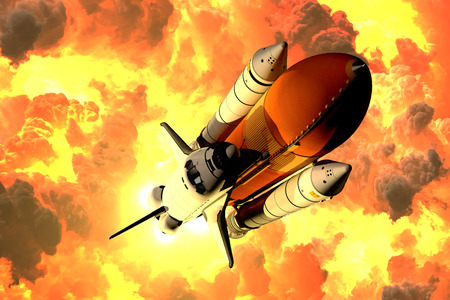 Space Shuttle Takes Off In The Clouds Of Fire. 3D Illustration. Фото со стока