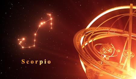virgo: Constelación del zodiaco Escorpio y esfera armilar sobre fondo rojo. Ilustración 3D.