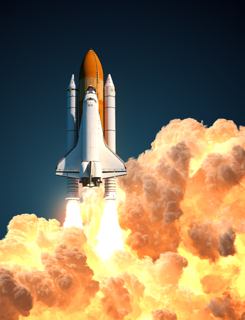 Space Shuttle In The Clouds Of Fire. 3D Illustration. Stock Photo
