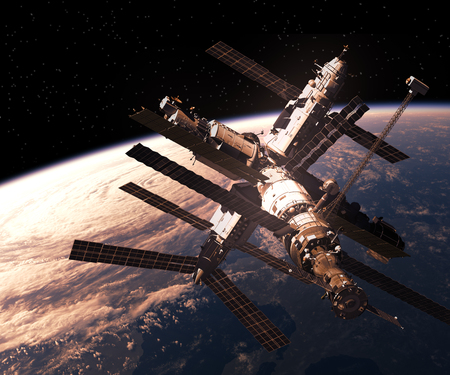 space station: Space Station Orbiting Planet Earth. 3D Illustration.