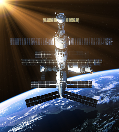 space station: Space Station In The Rays Of Sun. 3D Illustration.