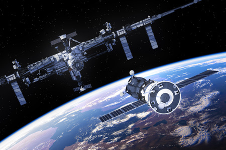 space station: Spacecraft Is Preparing To Dock With International Space Station. 3D Illustration.