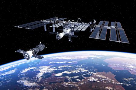 Ruimtevaartuig gekoppeld aan het internationale ruimtestation. 3D illustratie.