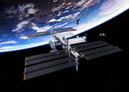 space station: Spacecrafts And International Space Station. 3D Illustration.