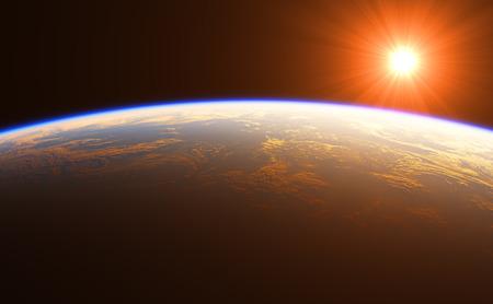 Beautiful Sunrise Over The Earth. 3D Illustration.