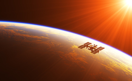 space station: International Space Station In The Rays Of Rising Sun. 3D Illustration. Stock Photo