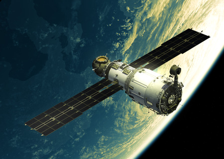 orbital station: Space Station In Outer Space. 3D Illustration. Stock Photo