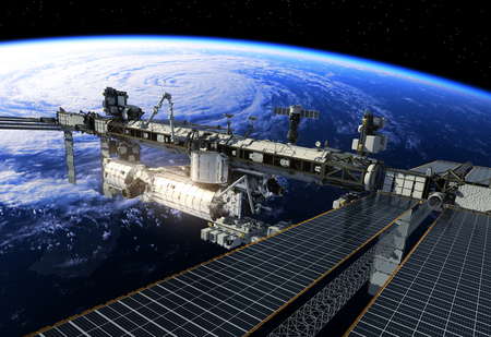 orbital station: International Space Station Flying Obove Large Hurricane. 3D Illustration.