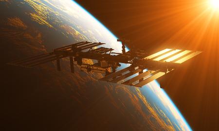 orbital station: International Space Station In The Rays Of Sun. 3D Illustration.