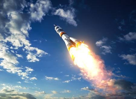orbital spacecraft: Carrier Rocket Takes Off To The Clouds. 3D Illustration. Stock Photo
