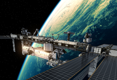 space station: International Space Station Orbiting Planet Earth