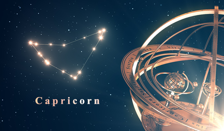 astral: Zodiac Constellation Capricorn And Armillary Sphere Over Blue Background
