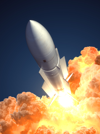 Rocket launch In The Clouds Of Fire. 3D Illustration. Stock Photo