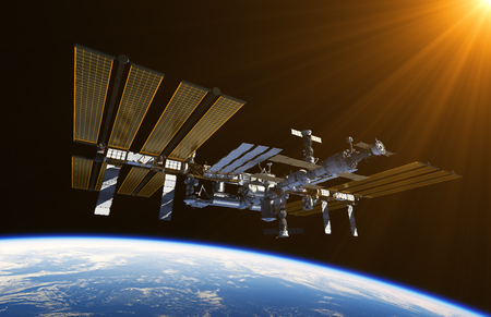 orbital station: International Space Station In Outer Space. 3D Illustration. Stock Photo