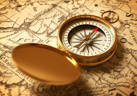 Golden Compass On Old Map. 3D Illustration.