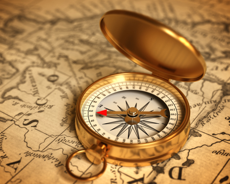 Golden Compass On The Map. 3D Illustration. Stock Photo
