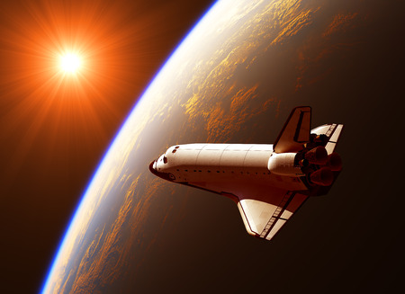 space station: Space Shuttle In The Rays Of Sun. 3D Illustration.