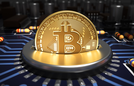 Putting Bitcoin Into Coin Slot Op Blauwe Moederbord Stockfoto