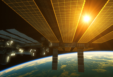 orbital station: International Space Station And Sun Above The Earth Stock Photo