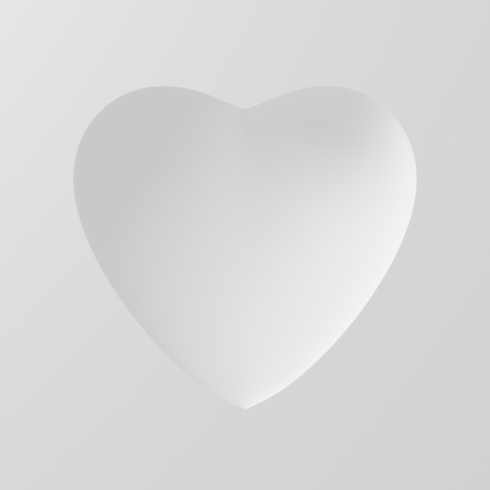 concave: Concave Shape Of White Heart On White Background