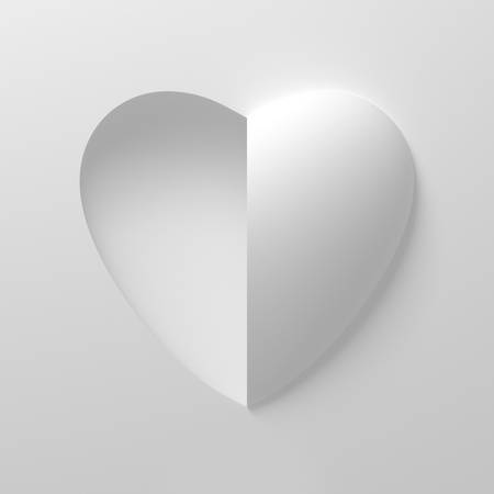 concave: Concept Of White Heart Shape On White Background
