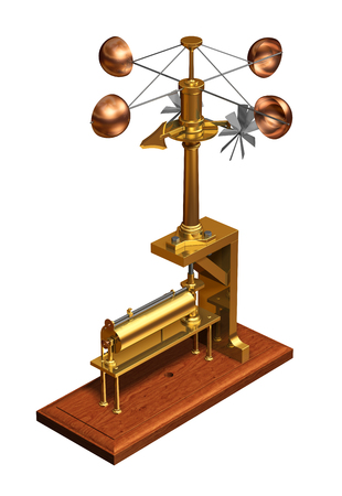 Antique Anemometer. Weather Station On White Background.. Stock Photo