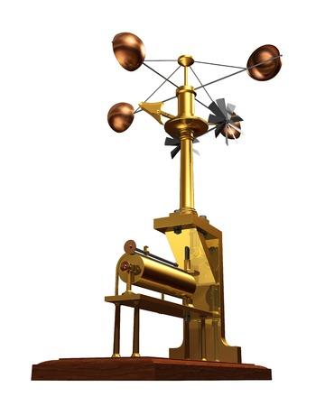 Antique Anemometer On White Background Stock Photo