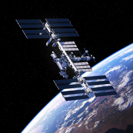 International Space Station Orbiting Planet Earth. Standard-Bild