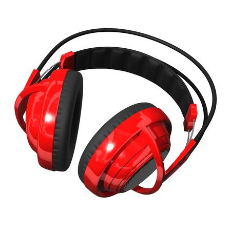 entertainment equipment: Isolated Red Headphones. Stock Photo