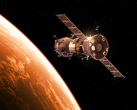 Spacecraft Orbiting Red Planet. Realistic 3D Illustration. Stock Photo