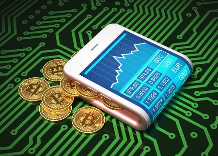 Concept van virtuele portemonnee en bitcoins op printplaat. Gouden bitcoins komen uit de roze gebogen smartphone. 3D illustratie.