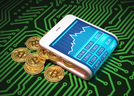 Concept Of Virtual Wallet And Bitcoins On Printed Circuit Board. Gold Bitcoins Spill Out Of The Pink Curved Smartphone. 3D Illustration.
