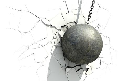 흰 벽을 산 산 조각난 된 공입니다. 3D 일러스트 레이 션.