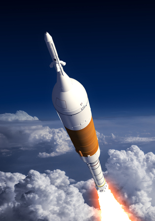 orbital station: Carrier Rocket Launch In The Clouds. 3D Illustration. Stock Photo