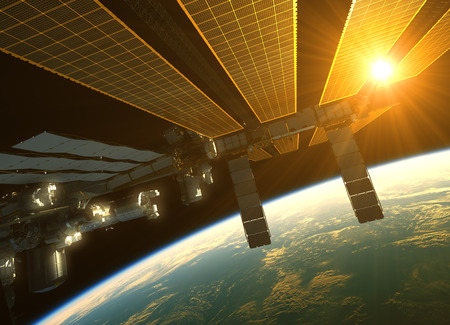 orbital station: International Space Station In The Rays Of Sun Sun Above The Earth. 3D Illustration.