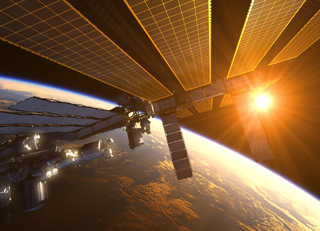 red sunset: International Space Station In The Rays Of Red Sun. 3D Illustration.