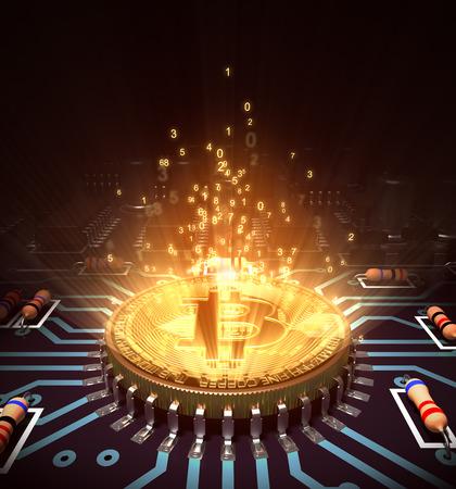 Concept van Bitcoin zoals een computerverwerker met Magic Digital Light. 3D illustratie. Stockfoto