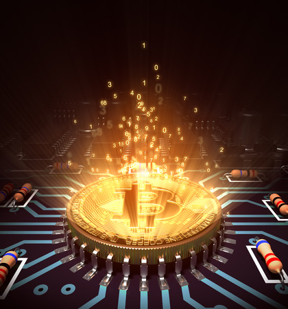 Concept Of Bitcoin Like A Computer Processor With Magic Digital Light. 3D Illustration.