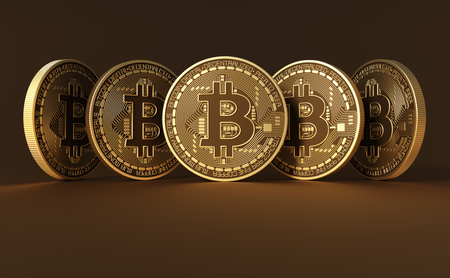 Five Virtual Coins Bitcoins On Brown Background. 3D Illustration.