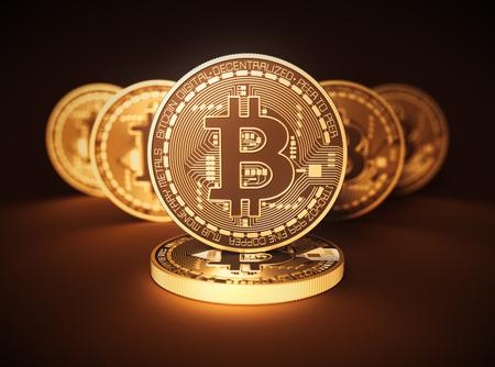 Virtuální mince Bitcoins na hnědém pozadí