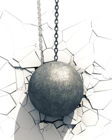 Metallic Wrecking Ball Shattering White Wall Stockfoto