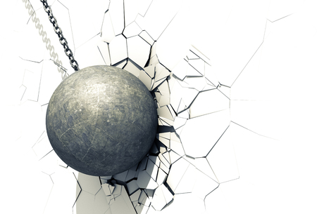 wrecked: Wrecking Ball Shattering The White Wall. 3D Illustration. Stock Photo