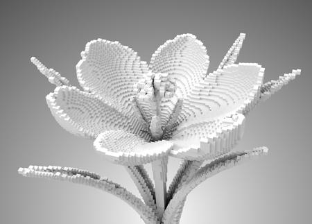 3D Pixel White Flower Crocus. 3D Illustration.